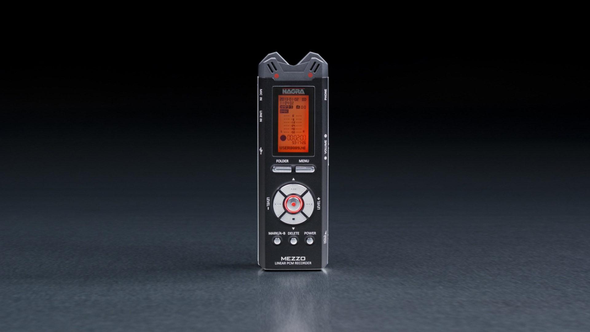 Nagra Mezzo miniature recorder handheld digital front rec button