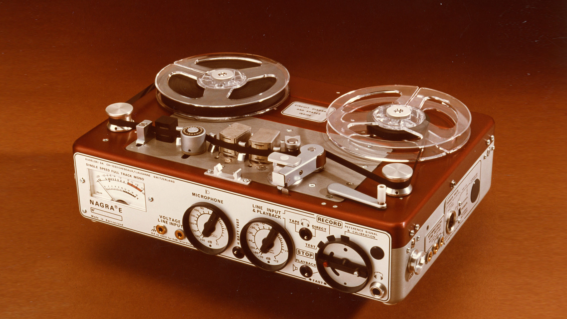 1976 NAGRA E-Economy portable mono full track analog audio tape recorder radio reporters NAB CCIR front